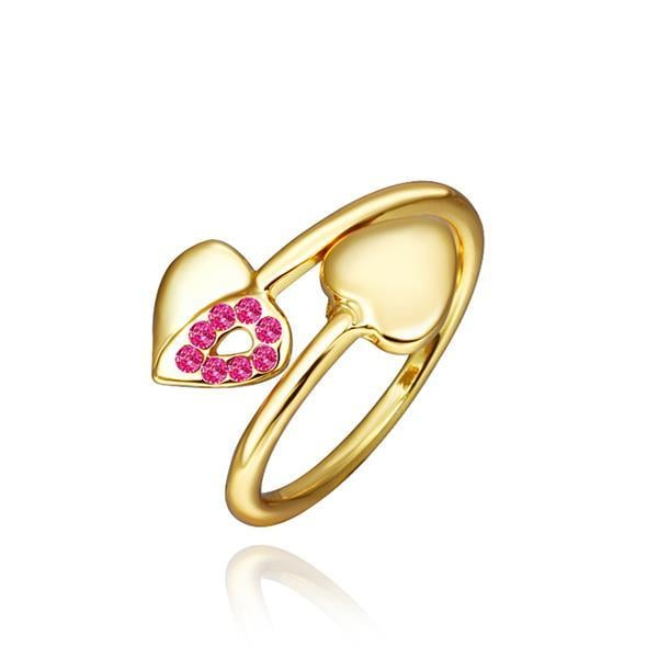 Vienna Jewelry Petite Gold Plated Coral Swirl Ring Size 8