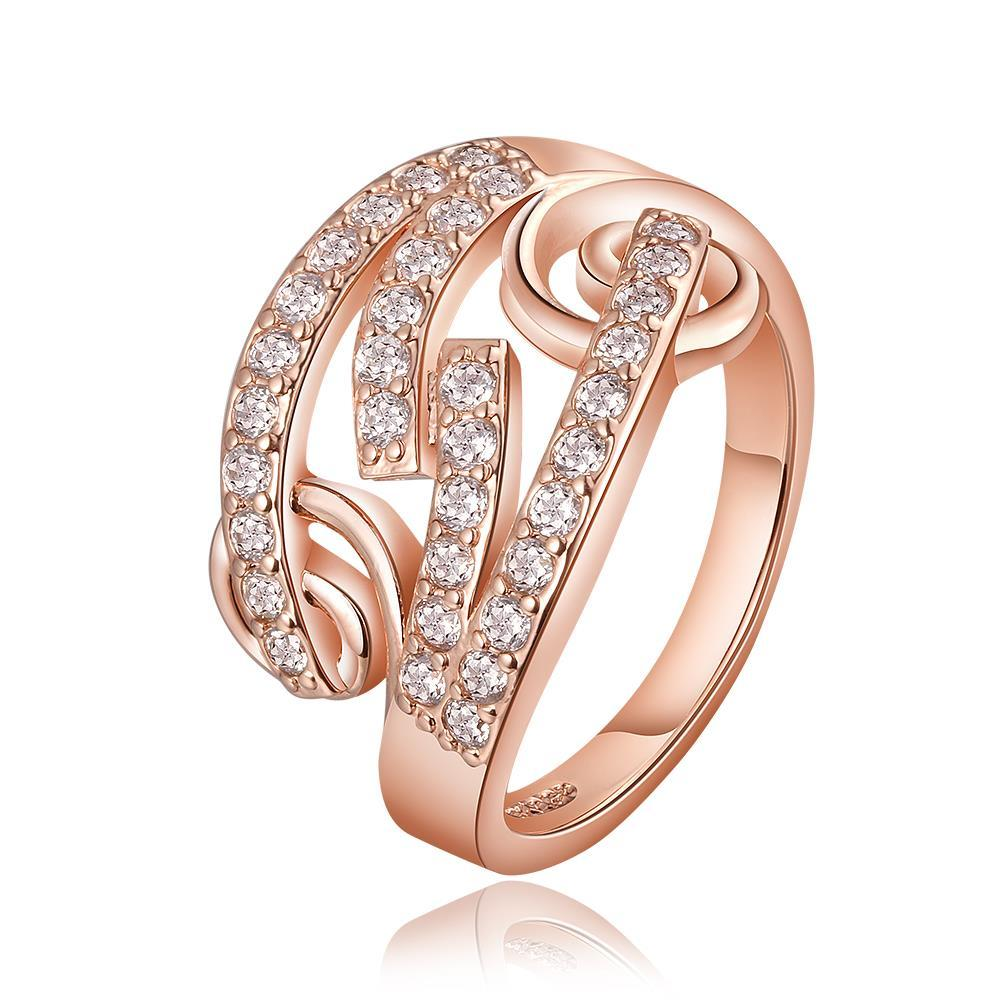 Vienna Jewelry Rose Gold Plated Multi Swirl Design Jewels Covering Ring Size 8