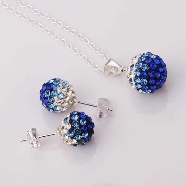 Vienna Jewelry Austrian Crystal Element Multi-Pave Earring Studs and Necklace Set-Sapphire Crystal