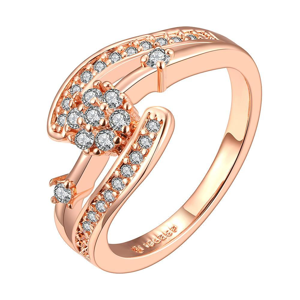Vienna Jewelry Rose Gold Plated Swirl Crystal Covering Ring Size 6