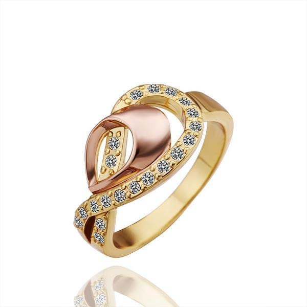 Vienna Jewelry Gold Plated Swirl Design Jewels Ring Size 8