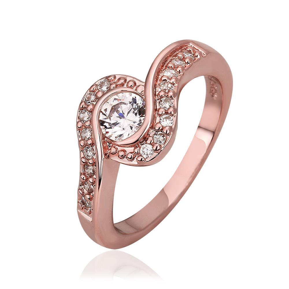 Vienna Jewelry Rose Gold Plated Swirl Design Crystal Jewel Ring Size 7