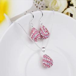 Vienna Jewelry Austrian Crystal Element Multi-Pave Pear Earring and Necklace Set-Bubble Gum
