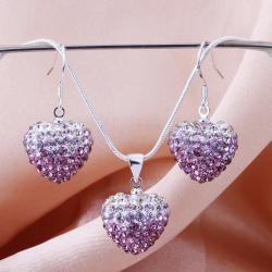 Vienna Jewelry Austrian Crystal Element Multi-Pave Heart Earring and Necklace Set-Purple Fusion
