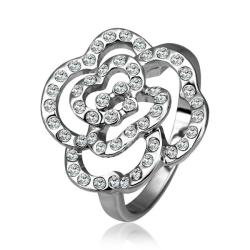 Vienna Jewelry White Gold Plated Laser Cut Blossoming Floral Ring Size 8 - Thumbnail 0