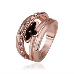 Vienna Jewelry Rose Gold Plated Petite Onyx Floral Ring Size 8 - Thumbnail 0