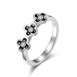 Vienna Jewelry White Gold Plated Trio-Petite Clover Stud Ring Size 7 - Thumbnail 0