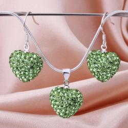 Vienna Jewelry Austrian Crystal Element Solid-Pave Heart Earring and Necklace Set-Light Green