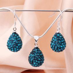Vienna Jewelry Austrian Crystal Element Solid-Pave Pear Earring and Necklace Set-Teal Crystal
