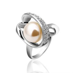 Vienna Jewelry White Gold Plated Pearl Twisted Center Ring Size 7 - Thumbnail 0