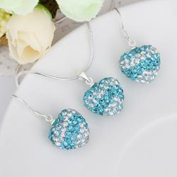 Vienna Jewelry Austrian Crystal Element Multi-Pave Heart Drop Earring and Necklace Set-Blue Crystal