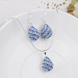 Vienna Jewelry Austrian Crystal Element Multi-Pave Pear Earring and Necklace Set-Baby Blue