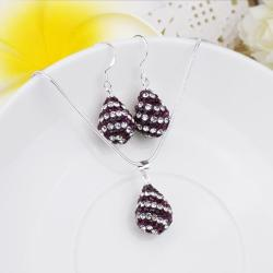 Vienna Jewelry Austrian Crystal Element Multi-Pave Pear Earring and Necklace Set-Purple Plum