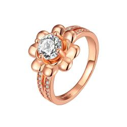 Vienna Jewelry Rose Gold Plated Petite Floral Emblem Ring Size 7 - Thumbnail 0