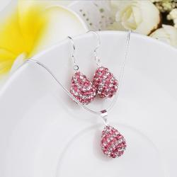 Vienna Jewelry Austrian Crystal Element Multi-Pave Pear Earring and Necklace Set-Pink