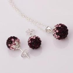Vienna Jewelry Austrian Crystal Element Multi-Pave Earring Studs and Necklace Set-Purple Crystal