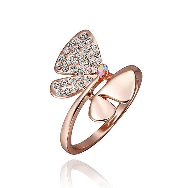 Vienna Jewelry Rose Gold Plated Ruby Diamond Jewels Covering Butterfly Ring Size 8