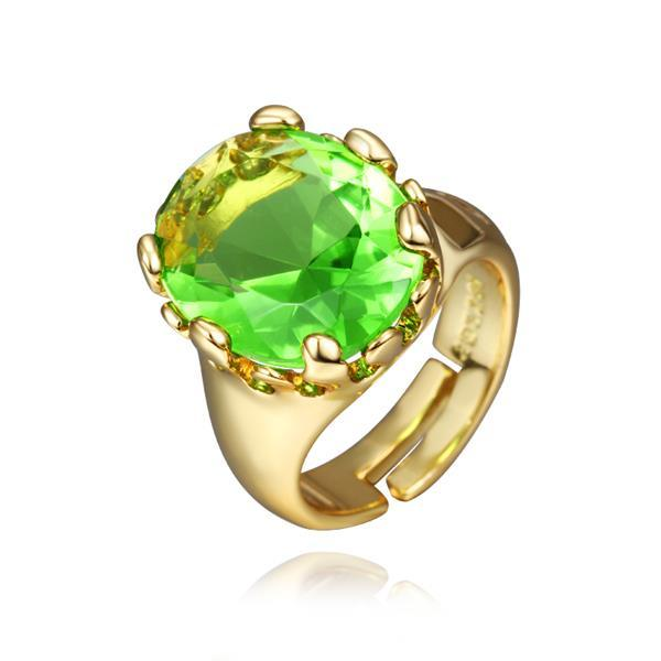 Vienna Jewelry Gold Plated Emerald Center Classic Ring Size 8