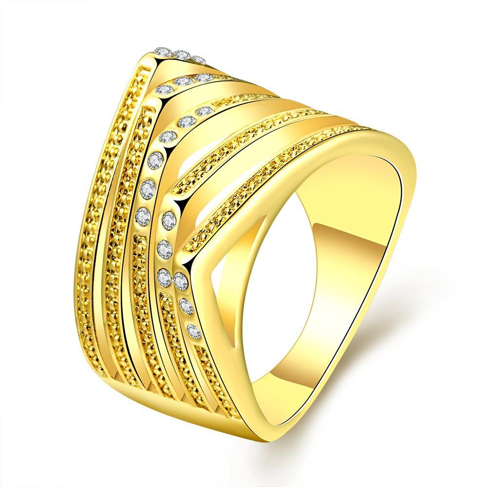 Vienna Jewelry Gold Plated Abstract Design Ring with Jewel Lining Size 8