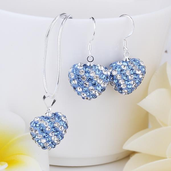 Vienna Jewelry Austrian Crystal Element Multi-Pave Heart Drop Earring and Necklace Set-Baby Blue Crystal