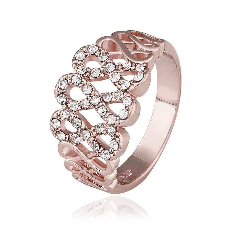 Vienna Jewelry Rose Gold Plated Swirl Lining Jewels Covering Ring Size 8