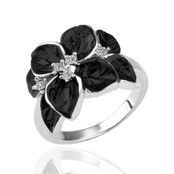 Vienna Jewelry White Gold Plated Onyx Flower Petal Ring Size 8