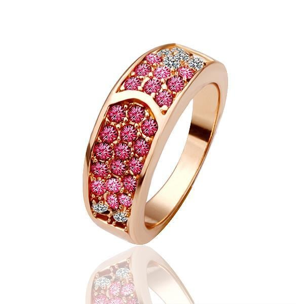 Vienna Jewelry Rose Gold Plated Ruby Red Encrusted Gem Ring Size 8