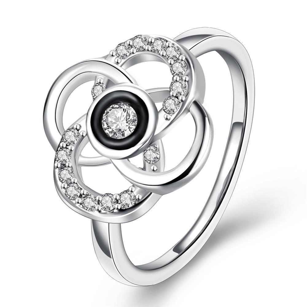 Vienna Jewelry White Gold Plated Circular Intertwined Cocktail Ring Size 8