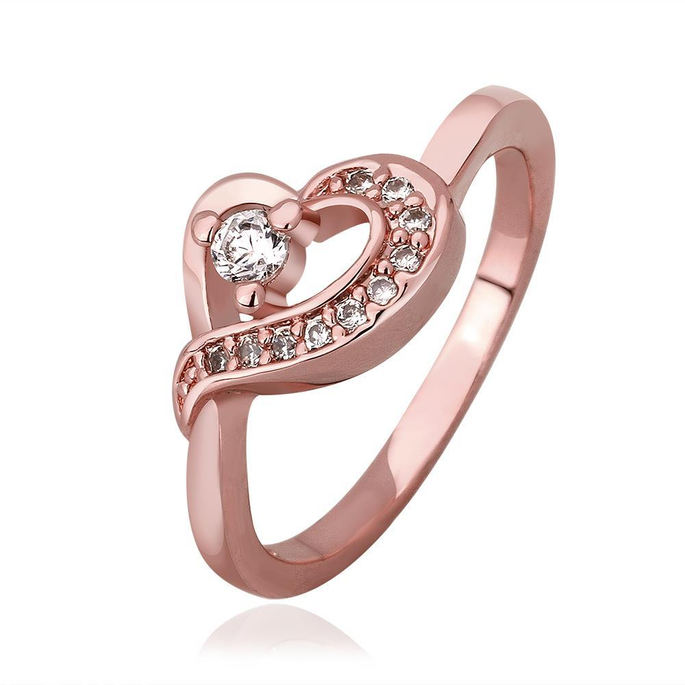 Vienna Jewelry Rose Gold Plated Heart Knot Jewels Covering Ring Size 8