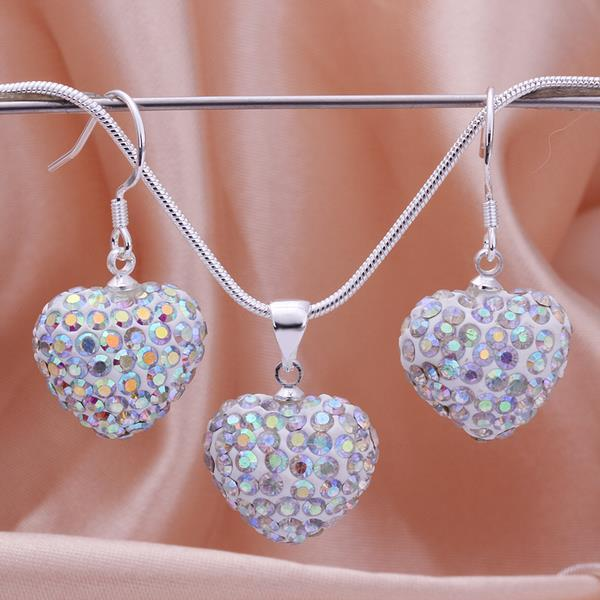 Vienna Jewelry Austrian Crystal Element Solid-Pave Heart Earring and Necklace Set-Rainbow Crystal