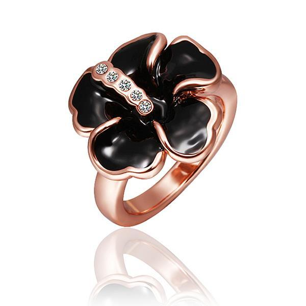 Vienna Jewelry Rose Gold Plated Onyx Classic Floral Ring Size 8