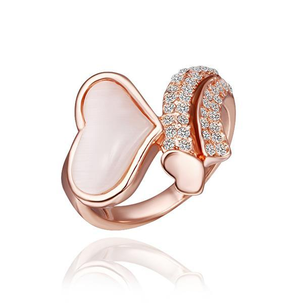 Vienna Jewelry Rose Gold Plated Crystal Heart Shaped Ring Size 8