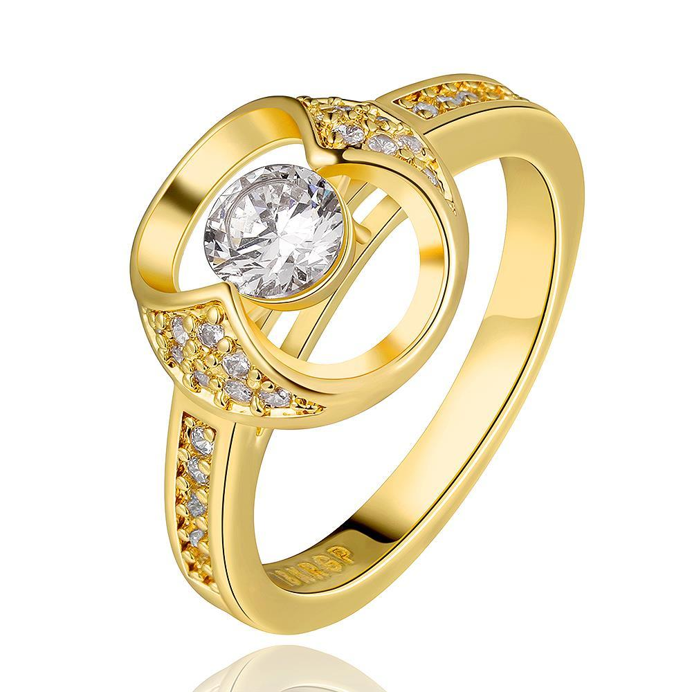Vienna Jewelry Gold Plated Abstract Circular Jewel Ring Size 8