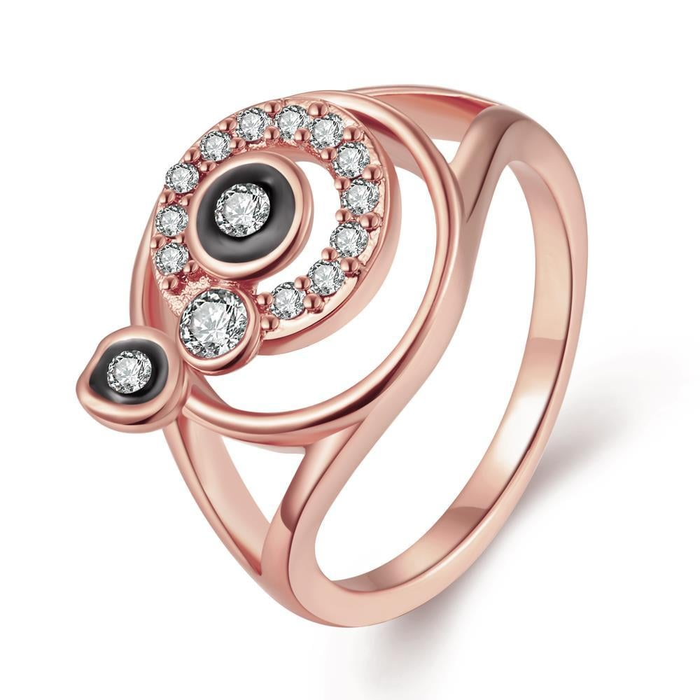 Vienna Jewelry Rose Gold Plated Sophisticated Swirl Onyx Ring Size 8