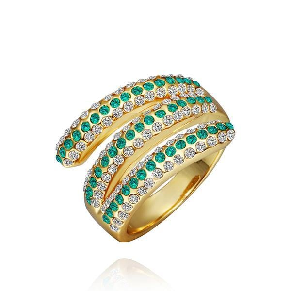 Vienna Jewelry Gold Plated Matrix Curved Emerald Jewels Ring Size 8