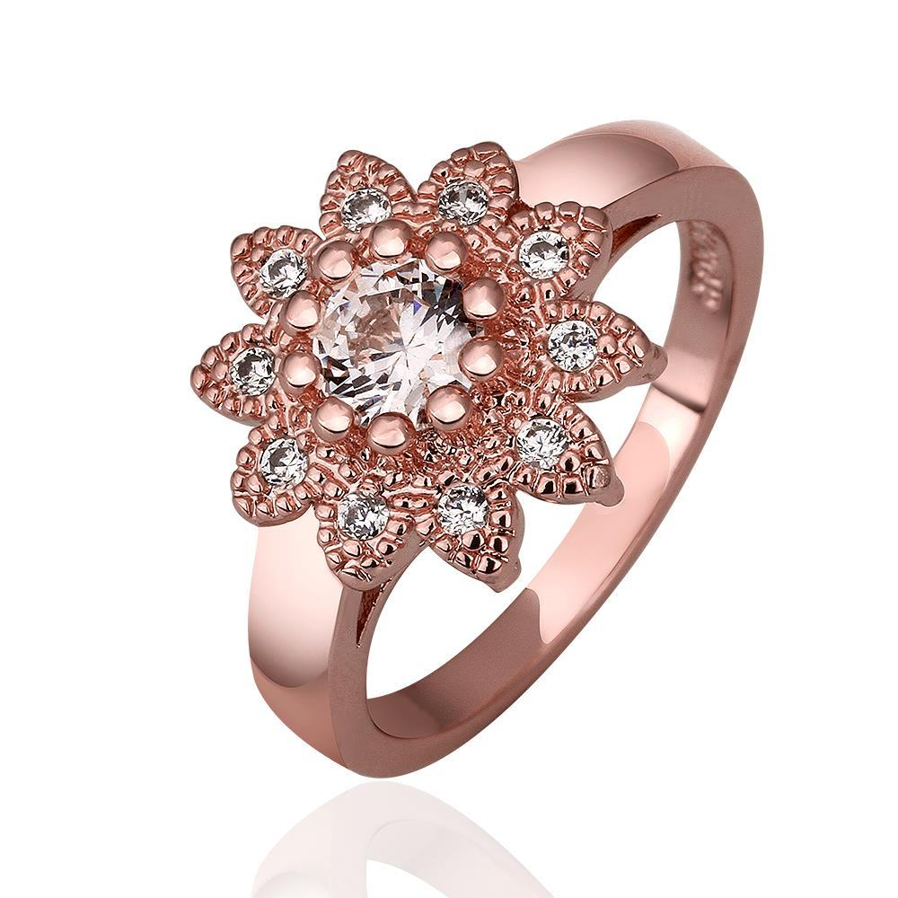 Vienna Jewelry Rose Gold Plated Blossoming Floral Jewel Ring Size 8
