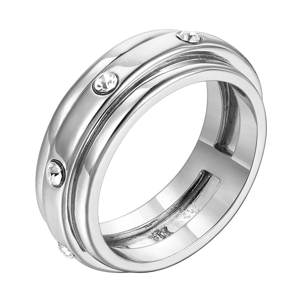 Vienna Jewelry White Gold Plated Classic Band with Crystal Jewels Ring Size 7