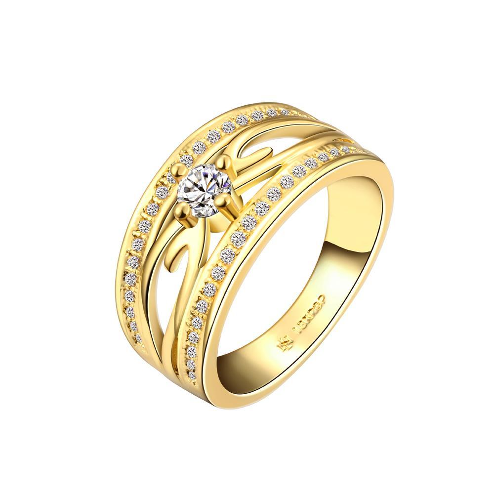 Vienna Jewelry Gold Plated Trio Lined Jewel Ring Size 7