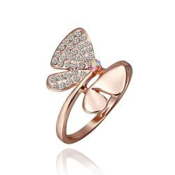 Vienna Jewelry Rose Gold Plated Ruby Diamond Jewels Covering Butterfly Ring Size 8 - Thumbnail 0