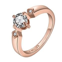 Vienna Jewelry Rose Gold Plated Crystal Jewel Center Petite Ring Size 7 - Thumbnail 0
