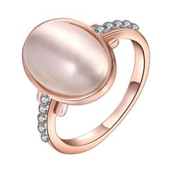 Vienna Jewelry Rose Gold Plated Ivory Center Ring with Jewels Covering Size 7 - Thumbnail 0