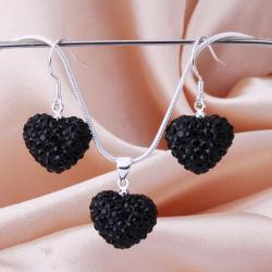 Vienna Jewelry Austrian Crystal Element Solid-Pave Heart Earring and Necklace Set-Solid Black