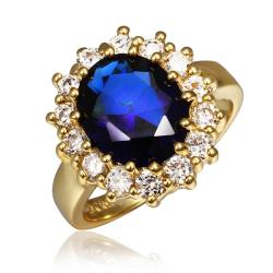 Vienna Jewelry Gold Plated Saphire Gem Center Piece Ring Size 8 - Thumbnail 0