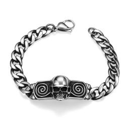 Vienna Jewelry Mini Skull Stainless Steel Bracelet - Thumbnail 0