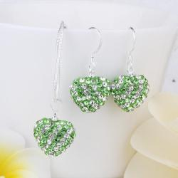 Vienna Jewelry Austrian Crystal Element Multi-Pave Heart Drop Earring and Necklace Set-Grass Green
