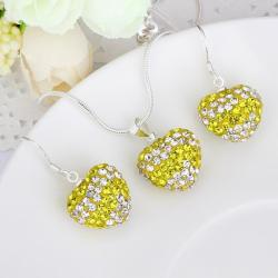 Vienna Jewelry Austrian Crystal Element Multi-Pave Heart Drop Earring and Necklace Set-Yellow Crystal