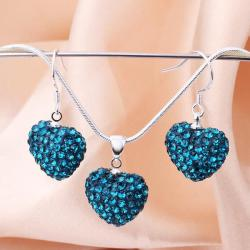 Vienna Jewelry Austrian Crystal Element Solid-Pave Heart Earring and Necklace Set-Teal Crystal