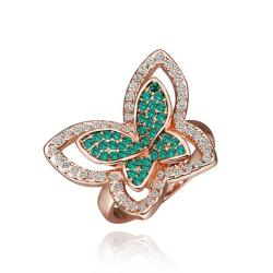 Vienna Jewelry Rose Gold Plated Emerald Flying Butterfly Ring Size 8 - Thumbnail 0