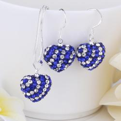 Vienna Jewelry Austrian Crystal Element Multi-Pave Heart Drop Earring and Necklace Set-Royal Blue