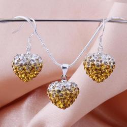 Vienna Jewelry Austrian Crystal Element Multi-Pave Heart Earring and Necklace Set-Golden Fusion - Thumbnail 0